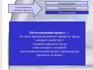 3 Обслуживающий процесс — это часть производственного процесса труда, который