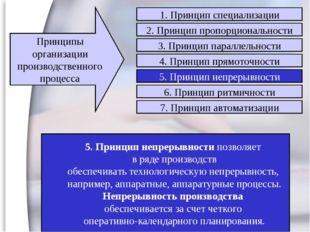 5. Принцип непрерывности позволяет в ряде производств обеспечивать технологич