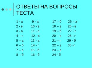 ОТВЕТЫ НА ВОПРОСЫ ТЕСТА 1 - а 9 - а 2 - в 10 - в 3 - в 11 - а 4 – г 12 - в 5