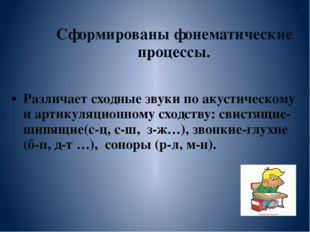 Сформированы фонематические процессы. Различает сходные звуки по акустическо