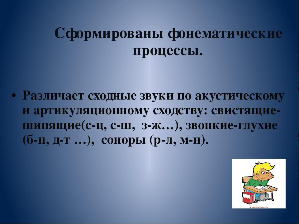 Сформированы фонематические процессы. Различает сходные звуки по акустическо...