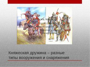 Княжеская дружина – разные типы вооружения и снаряжения Дружина князя обычно