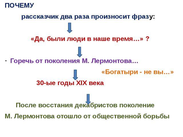 ПОЧЕМУ рассказчик два раза произносит фразу: «Да, были люди в наше время…» ?...