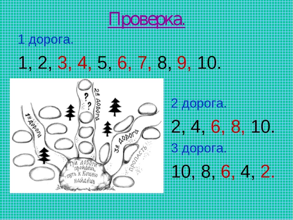 Проверка. 1 дорога. 1, 2, 3, 4, 5, 6, 7, 8, 9, 10. 2 дорога. 2, 4, 6, 8, 10....