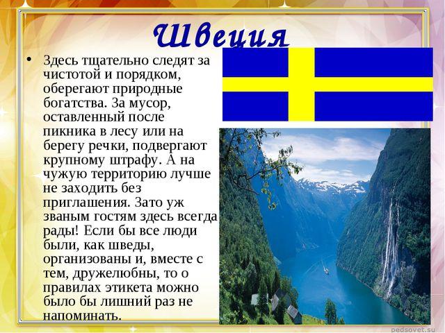 Швеция Здесь тщательно следят за чистотой и порядком, оберегают природные бог...