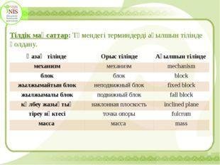 Тілдік мақсаттар: Төмендегі терминдерді ағылшын тілінде қолдану. Қазақ тілін