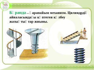 Бұранда — қарапайым механизм. Цилиндрдің айналасындағы көптеген көлбеу жазық