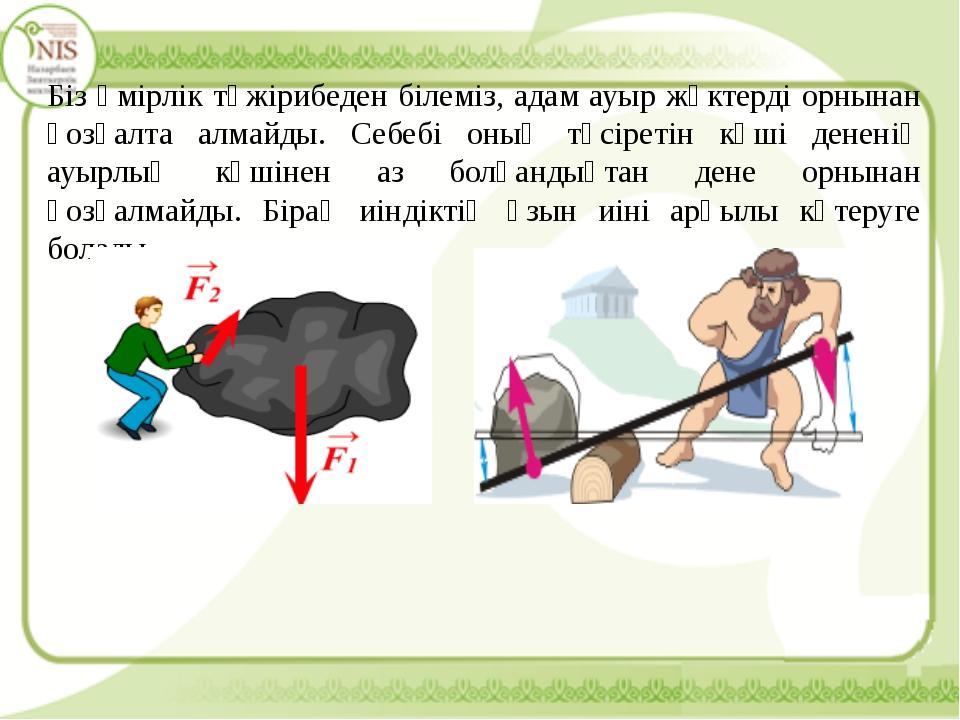 Біз өмірлік тәжірибеден білеміз, адам ауыр жүктерді орнынан қозғалта алмайды....
