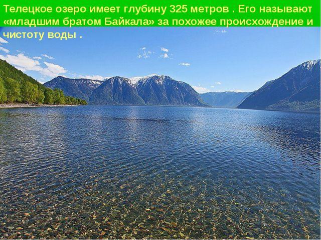 Телецкое озеро имеет глубину 325 метров . Его называют «младшим братом Байкал...