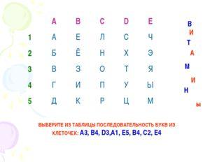 ВЫБЕРИТЕ ИЗ ТАБЛИЦЫ ПОСЛЕДОВАТЕЛЬНОСТЬ БУКВ ИЗ КЛЕТОЧЕК: А3, В4, D3,А1, Е5, В