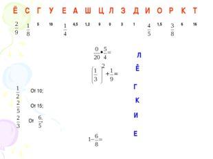 От 10; От 15; От Ё Л Г К И Е ЁСГУЕАШЦЛЗДИОРКТ 5104,51,2