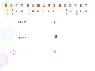 0,4 от 25; 12 * 0,1 = У Ш И ЁСГУЕАШЦЛЗДИОРКТ 5104,51,29