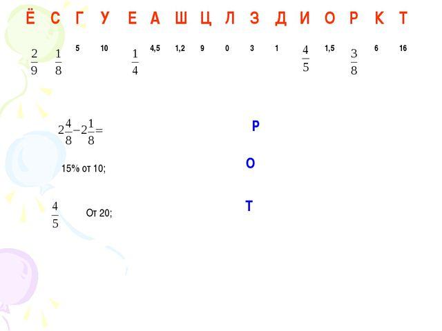 От 20; 15% от 10; Р О Т ЁСГУЕАШЦЛЗДИОРКТ 5104,51,290...