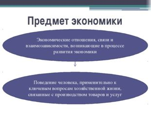 Предмет экономики Экономические отношения, связи и взаимозависимости, возника