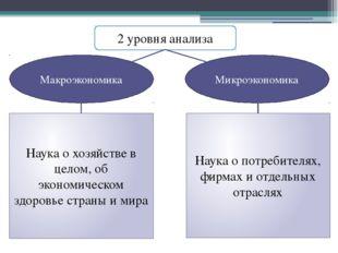 2 уровня анализа Макроэкономика Микроэкономика Наука о хозяйстве в целом, об