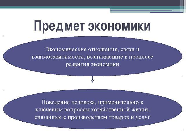 Предмет экономики Экономические отношения, связи и взаимозависимости, возника...