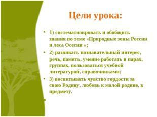 Цели урока: 1) систематизировать и обобщить знания по теме «Природные зоны Ро