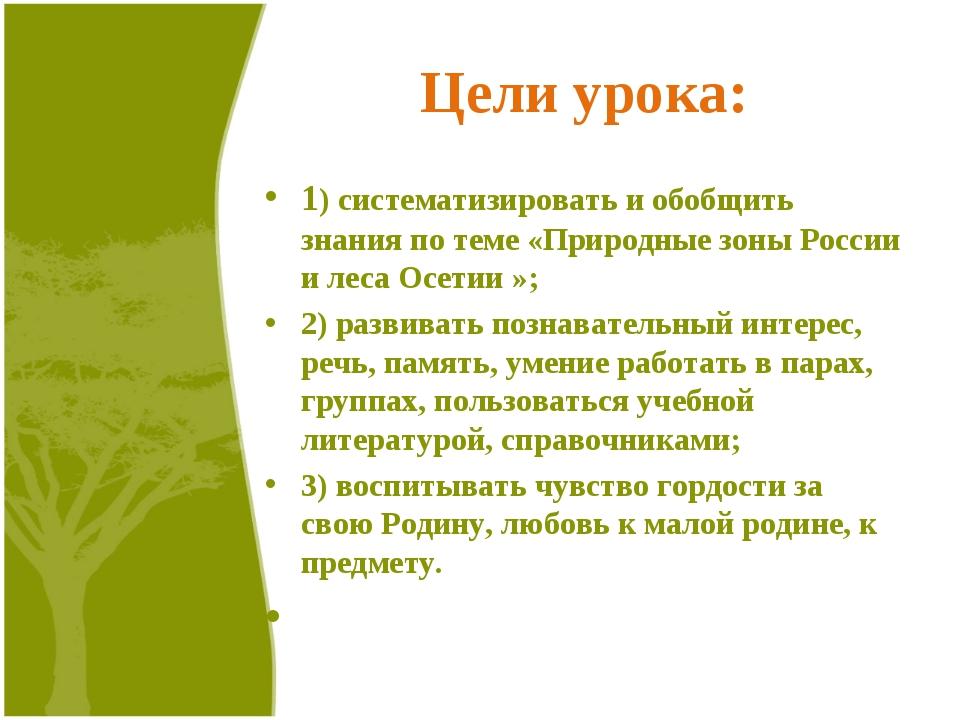 Цели урока: 1) систематизировать и обобщить знания по теме «Природные зоны Ро...