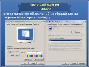 Частота обновления экрана - это количество обновлений изображения на экране м
