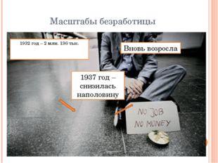 Масштабы безработицы 1932 год – 2 млн. 136 тыс. 1937 год – снизилась наполови