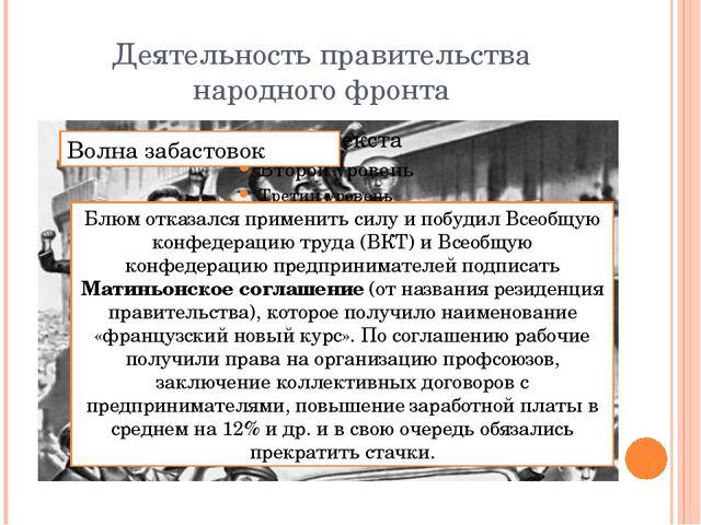 Деятельность правительства народного фронта Волна забастовок Блюм отказался п...