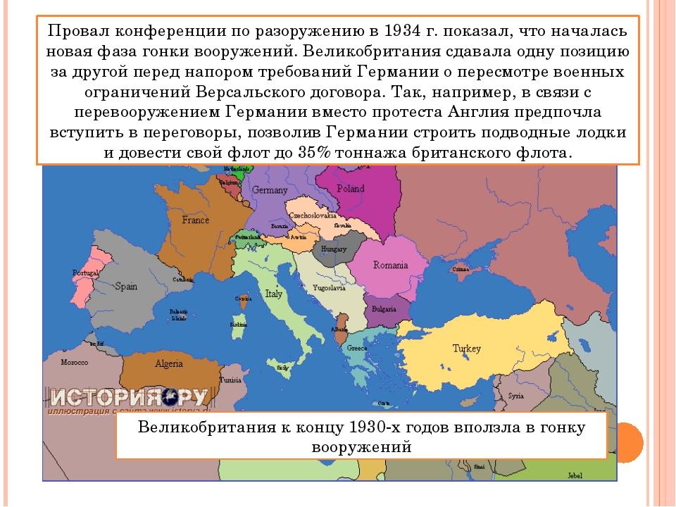 Провал конференции по разоружению в 1934 г. показал, что началась новая фаза...