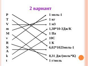 2 вариант Р 1 моль-1 Т 1 кг V 1 м3 m 1,38*10-3Дж/К M 1 Па ν 10C R 1 К NA 6,02