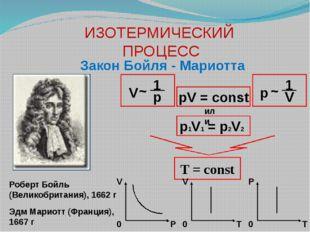 ИЗОТЕРМИЧЕСКИЙ ПРОЦЕСС Закон Бойля - Мариотта T = const Роберт Бойль (Великоб