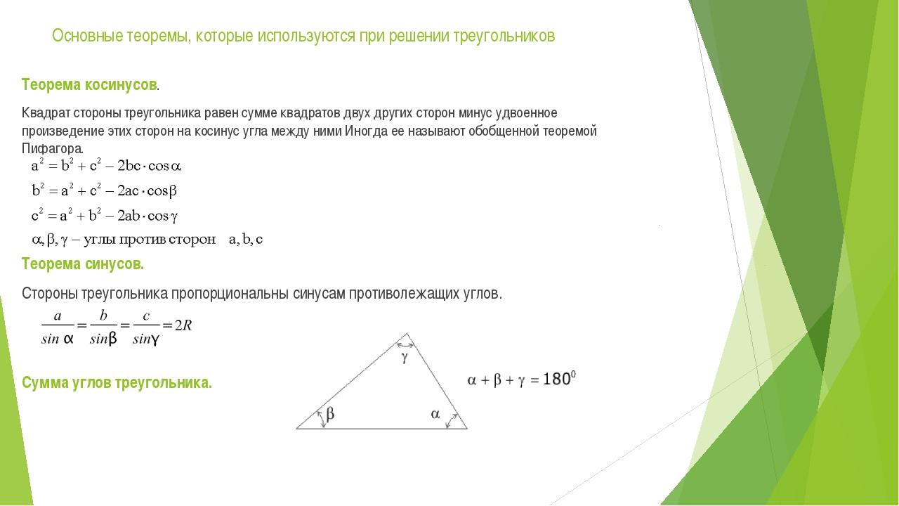 Основные теоремы, которые используются при решении треугольников Теорема коси...