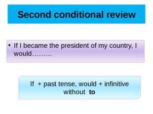 Second conditional review If I became the president of my country, I would………