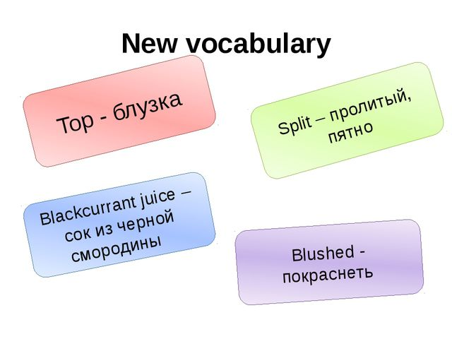 New vocabulary Top - блузка Blushed - покраснеть Blackcurrant juice – сок из...