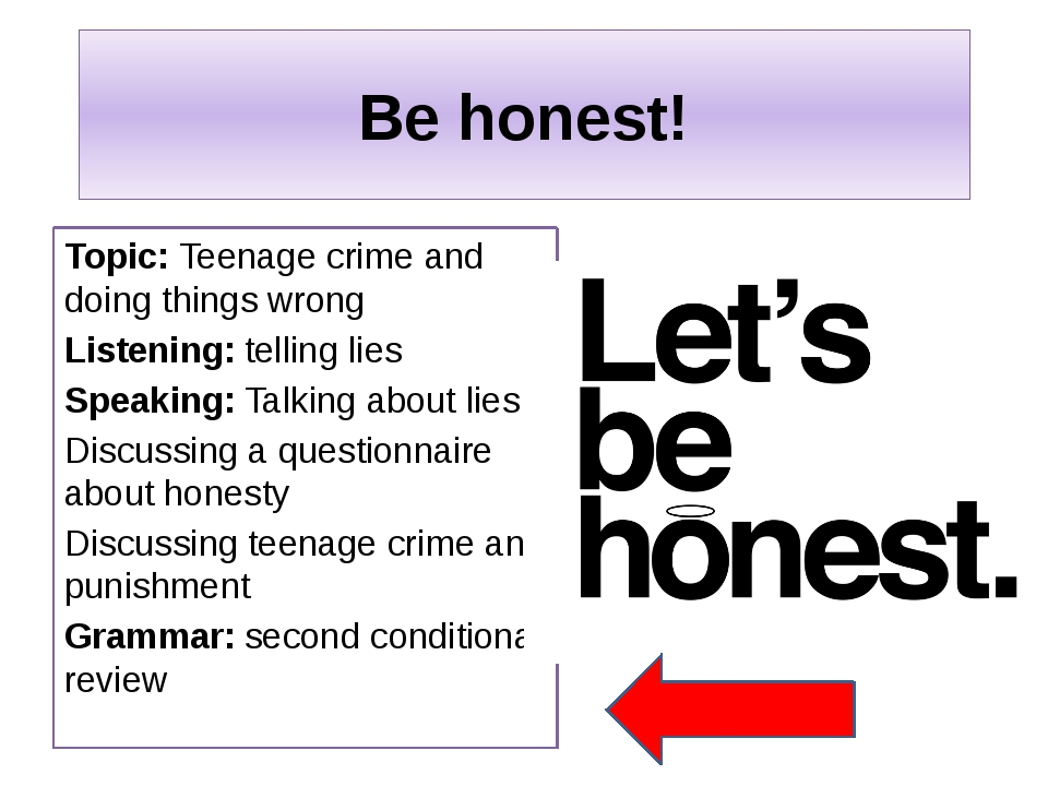 Be honest! Topic: Teenage crime and doing things wrong Listening: telling lie...