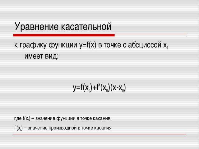 Уравнение касательной к графику функции y=f(x) в точке с абсциссой х0 имеет в...