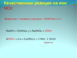 Качественная реакция на ион NO3- Вещество + медные стружки + H2SO4(к.)+ t0 Na