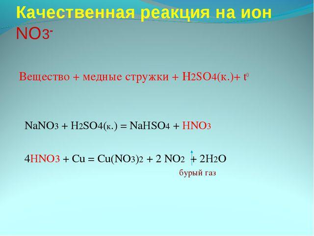 Качественная реакция на ион NO3- Вещество + медные стружки + H2SO4(к.)+ t0 Na...