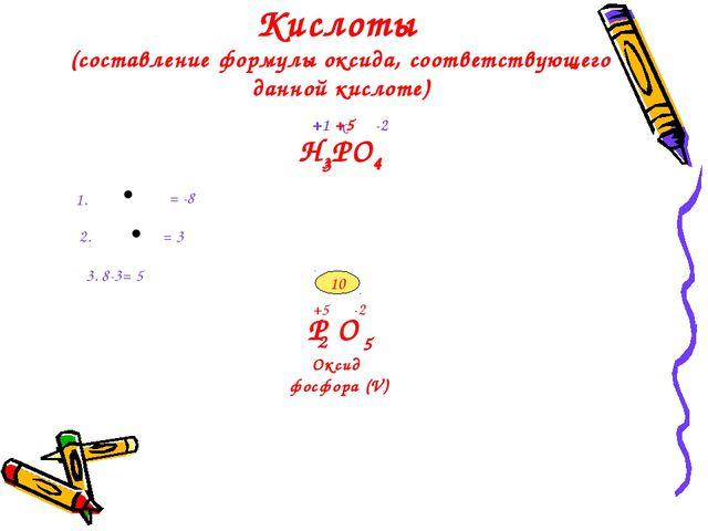 Кислоты (составление формулы оксида, соответствующего данной кислоте) H3PO4 -...