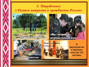 2. Направление « Растим патриота и гражданина России» В мероприятиях приняли