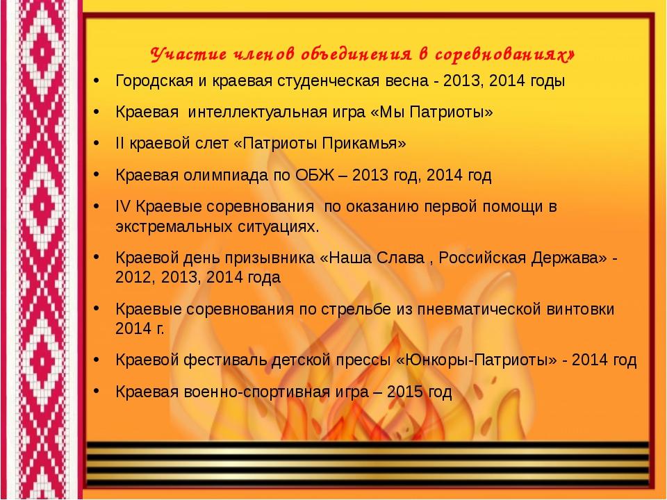 Участие членов объединения в соревнованиях» Городская и краевая студенческая...