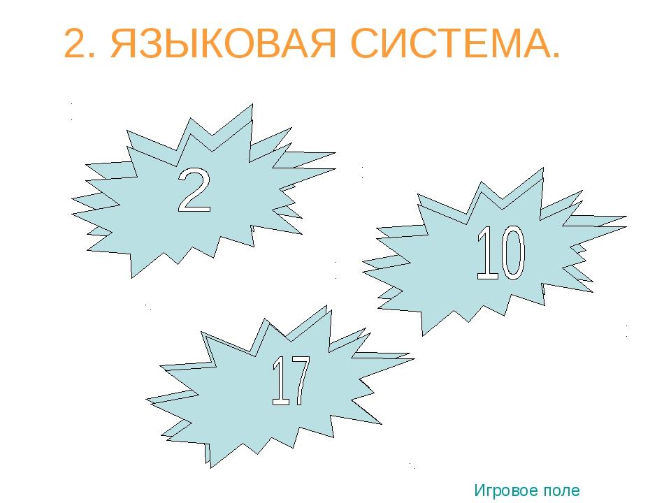 2. ЯЗЫКОВАЯ СИСТЕМА. 1 1 3 Игровое поле