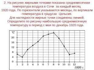 2. На рисунке жирными точками показана среднемесячная температура воздуха в С