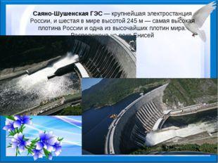 Саяно-Шушенская ГЭС— крупнейшая электростанция России, и шестая в мире высот