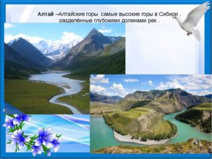 Алтай–Алтайские горы самые высокие горы в Сибири , разделённые глубокими до