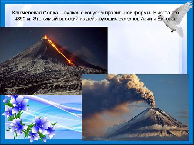 Ключевская Сопка—вулкан с конусом правильной формы. Высота его 4850 м. Это с...