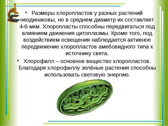 Размеры хлоропластов у разных растений неодинаковы, но в среднем диаметр их с...