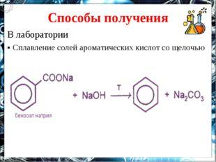 Способы получения В лаборатории ▪ Сплавление солей ароматических кислот со ще