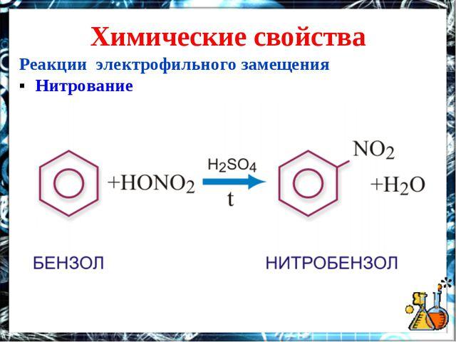 Химические свойства Реакции электрофильного замещения ▪ Нитрование