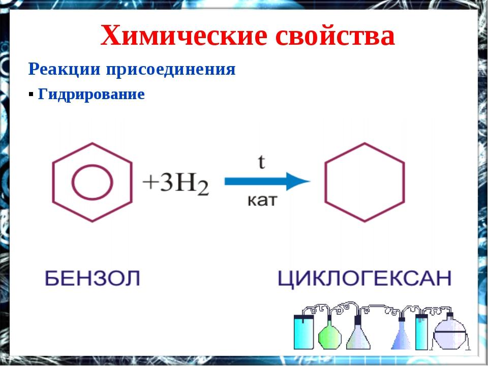Химические свойства Реакции присоединения ▪ Гидрирование
