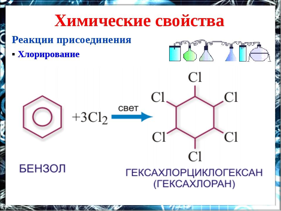 Химические свойства Реакции присоединения ▪ Хлорирование