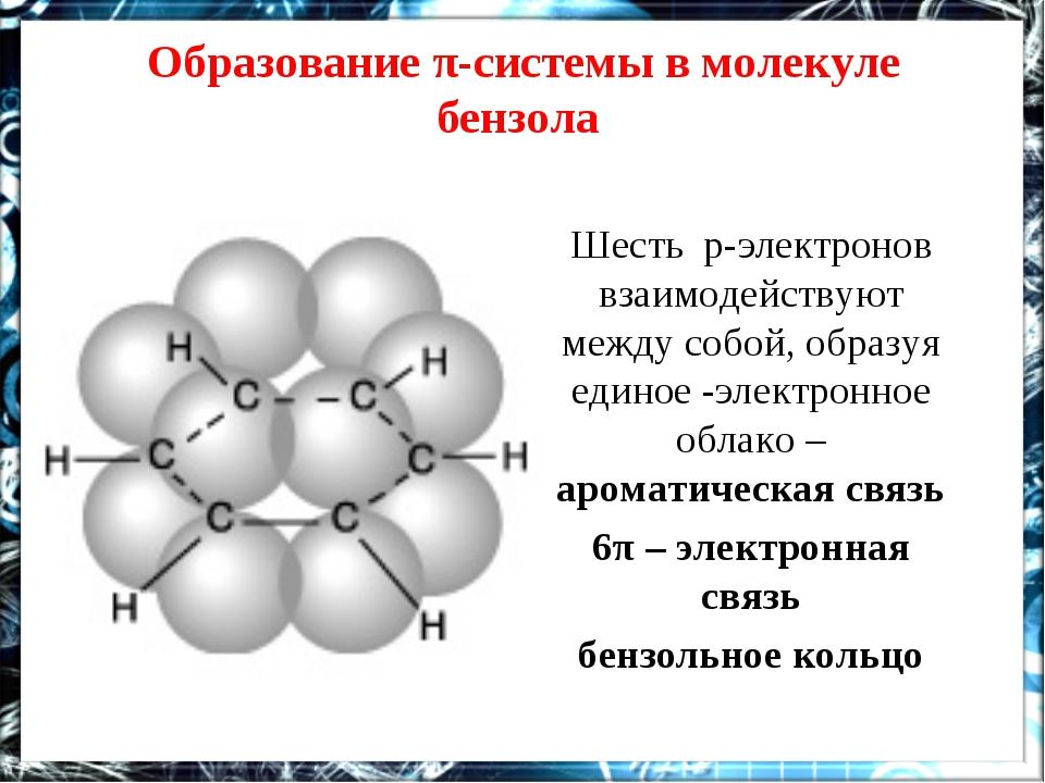 Образование π-системы в молекуле бензола Шесть р-электронов взаимодействуют м...