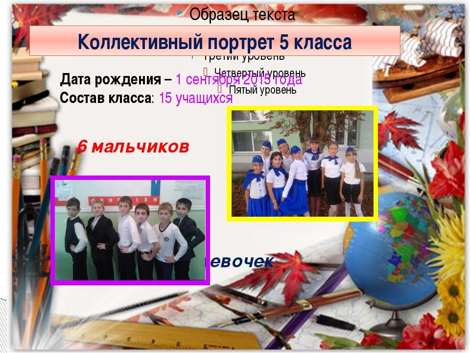 Коллективный портрет 5 класса Дата рождения – 1 сентября 2015 года Состав кл...